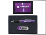 Torpedo Ballpoint Pen and 8GB Swivel USB Gift Set (08043-04) Purple