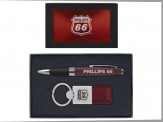 Torpedo Ballpoint Pen and Duo Leather Keytag Gift Set (08044-04) Red