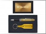 Torpedo Ballpoint Pen and Bottle Shaped Wine Opener Keytag Gift Set (08045-04) Gold