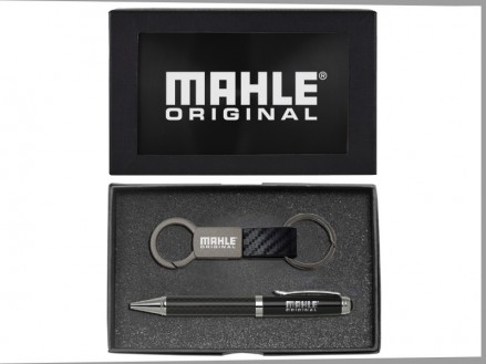 Carbon Fiber Strap Metal Key Chain and Ballpoint Pen Gift Set (08088-04)