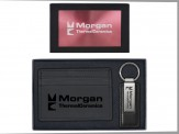 European Money Clip Wallet &  Leather and Metal Key-tag SIL