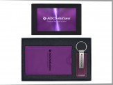 Leather Metal Key tag & Ultra Suede Luggage Tag (08027-04) Purple