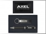Leather and Metal Key-Tag & Carbon Fiber Ball Point Pen BLK