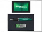 Torpedo Ballpoint Pen and 8GB Swivel USB Gift Set (08043-04) Green