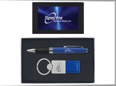 Torpedo Ballpoint Pen and Duo Leather Keytag Gift Set (08044-04) Blue