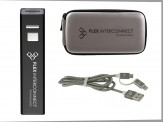 2600mAh Power Bank w/ Grey Travel Zip Case & Duo Cord (14034-61) Black