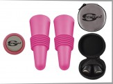COLORFUL WINE STOPPER SET with Ultra Suede Travel Zip Case (06016-61) Black