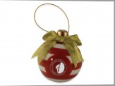 Ceramic 3D Christmas Bulb Shaped Ornament  (11012-01) Red