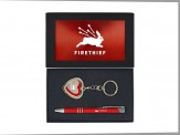 """Memories"" Heart Shaped Photo Key Chain and Circuit Mechanical Pen - Red"