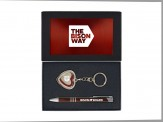 """""""Memories"""" Heart Shaped Photo Key Chain and Circuit Mechanical Pen - Red"""