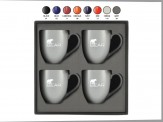 4 Piece 16 oz. Solid Bistro Mug Gift Set Engraved Box (08071-09)