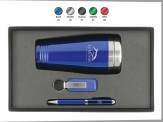 Tumbler, Leather Key Chain and Carbon Fiber Ballpoint Pen Gift Set Engraved Lid (08066-09_